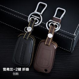 100% Genuine Leather Car Key Case Cover 2 Buttons Folding For 2015 Chevrolet TRAX Car Key Holder Car Key Accessorie