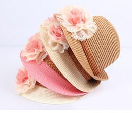Jazz rosa en Línea-La flor del bebé sombrero del bebé de los casquillos de los niños de paja de Fedora del sombrero de las muchachas del sombrero de Sun verano de los niños del sombrero del casquillo del jazz del sombrero del sol Dos de flores de color rosa los niños de color beige sombrero de la playa