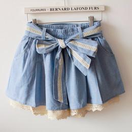 Wholesale Lace Drawstring Shorts - 2016070611 2016 Summer Mori Girl Sweet Bowknot Crochet Lace Shorts Skirt Women Elastic Waist Cotton Culotte Feminino High Waist Shorts