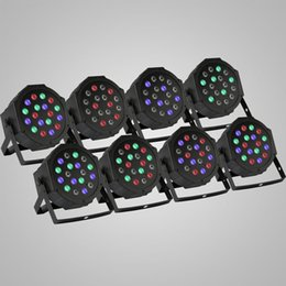 Wholesale 8Pcs Par x3W RGB LED Stage Light Strobe Disco KTV Sound Active Club Party Wedding Flat CAN Laser Lighting Wash Color led light bulb