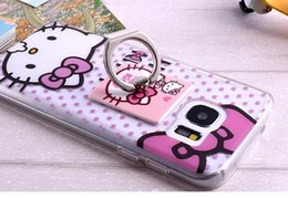 Wholesale For Samsung Galaxy S7 EDGE Soft TPU Case D Hello Kitty Totoro Finger Ring Grip Kick Stand Clear Cute Cartoon Transparent Skin Phone Luxury