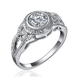Wholesale Sterling Silver Love Abstract Weave Rings With Cubic Zircon Ring For Women Female Charm Fashion Original Jewelry Making