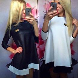2018 New Fashion Vestidos Women Casual Dresses Loose Spaid Print Leather Zipped Black&White O-Neck Plus Size Mini Party Dress