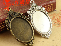 A3188 45*23MM Fit 25*18MM Antique Bronze accessories and the European and American retro jewelry oval blank pendant base, cameo bezels