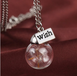 Wholesale Glass bottle Charm Necklace Natural dandelion seed in glass long necklace With Wish Glass Bead silver plated Necklace jewelry HZ