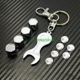 Wholesale Wholeasale set Car Chrome Zinc Alloy Tyre Valve Caps With Wrench Keychain For Mixed Order