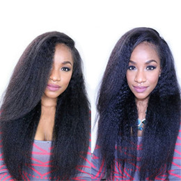 Light Yaki Brazilian Kinky Straight Glueless Full Lace Wigs Lace Front Wig Color #1B Coarse Yaki Virgin Human Hair Wigs For Black Women