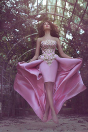 Wholesale High Low New Pink Prom Dresses Strapless with Gold Sequins Sparkling Cocktail Gowns Fashion Collection by Said Mhamad Party Wear BA2944