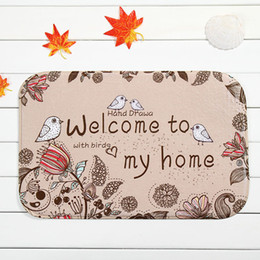 Wholesale High Quality Anti Slip Bathroom Doormats Flower Birds Brown Bath Mats Slip Coral Fleece Material Home Doormats