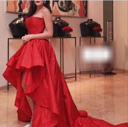 Fashion High Low Red Evening Dresses Strapless Prom Gowns Back Zipper With Ruffle Custom Made Taffeta Cheap Hot Sale Formal Party Dress