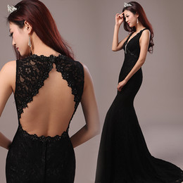 2017 New Backless Mermaid Evening Dresses Charming Long Prom Gowns Sequins Lace Applique Formal Cheap Evening Gowns