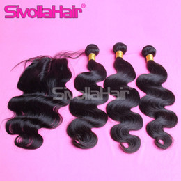 Wholesale Cheap Malaysian Hair Sale - 2015 big sale!6A Cheap Body Wave hair Bundles with Superb Lace Closure Brazilian Natural Human Hair 4X4 Free Middle three Part Stock
