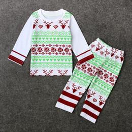 Camisas novas do partido à venda-2017 Novas Rapazes Raparigas Cervos do Natal roupa 2 peças equipamento de Santa mangas compridas t shirt calças legging partido definir Bebê INS Natal Cosplay