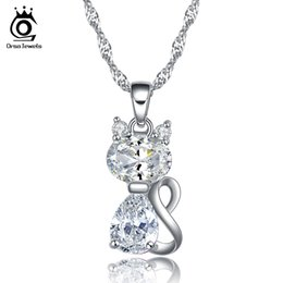 ORSA JEWELS Cute Cat Pendant Necklace Austrian Zircon Crystal Fashion Silver Necklace for Women ON77