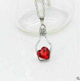 Diamond Drift Bottle Necklace Ceystal High End Wishing Bottle Rhinestone Pendant Necklaces Summer Lover Jewelry Drift Bottle DHL