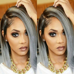 Natural looking 1bTgrey ombre wigs short bob wigs for women synthetic lace front wig heat resistant Hair Synthetic african american bob wigs