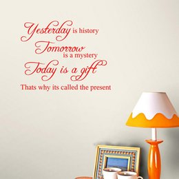 Wholesale Inspirational Quote Wall Sticker Yesterday is history Home Decor for Living Room Decoration