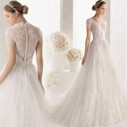 Wholesale 2016 New Luxury Wedding Dresses V neck Lace A Word Shoulder Short Sleeves Perspective Big Tail Gas Mass Wedding Dresses