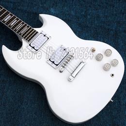 Cuerpo sg en Línea-CHINA COSTOM SHOP G SG Guitarra Blanco Color Cuerpo Rose madera Finger board sg Guitarras Eléctricas