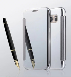 Mirror Clear SMART View Flip Case Electroplate plated Wallet leather Cover for samsung Galaxy S5 S6 S6 EDGE S6 EDGE PLUS S7 S7 EDGE 50PCS