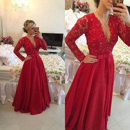 Red Prom Dresses Long 2016 Deep V-Neck Lace Top Pearls Beaded Draped Sexy Sheer Backless Plus Size Long Sleeves Formal Dresses Evening Wear