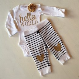 Wholesale Kids set Spring Autumn Baby Girls Clothes Gold Powder Printing Striped Pants Children Wear Set Romper Long Pant NewBorn Appare Retail