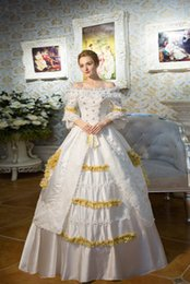 100%real white lace golden venice carnival ball gown Medieval Renaissance Gown queen costume Victorian dress  Marie Antoinette  Belle ball