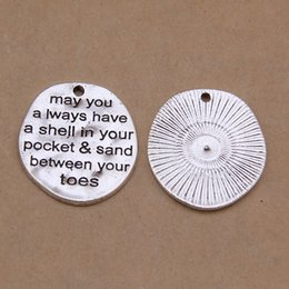 Wholesale Alloy Message Charms May You Always Have A Shell In Your Pocket Sand Between Your Toes Dog Tag Charms AAC1271