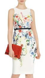 Flower Print Women Sheath Dress Round Neck Sleeveless Dresses 074A662