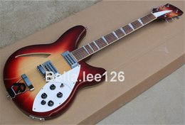 Wholesale semi hollow body guitar,dark Cherry burst color CUSTOMIZE electric guitars,free shipping