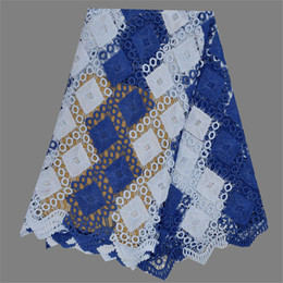 Latest itme EW106-6(5yards lot) royal blue with white African guipure cord mesh lace nice water soluble lace fabric for dress