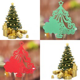 Red Green Laser Cut Xmas Tree Table Mark Escort Wine Glass Name Place Cards for Wedding Decoration Baby Shower Favor Birthday Party Supplies