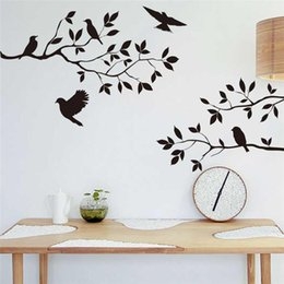 Wholesale 100pcs hot bird tree branch vinyl cut wall stickers bedroom living room decoration removable home decal animal mural art