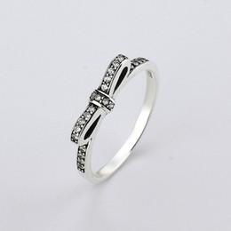 Wholesale 925 sterling sliver ring bowknot pandora rings AAA Austrian ZIRCON women jewelry diamond rings European wedding Party