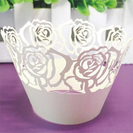 Decoration Mariage Laser Cut Cupcake Wrappers Liners Rose Design Vine Lace Cup Cak Wedding Favors And Gifts