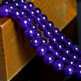 Wholesale Brazil natural purple chalcedony BEADS BEADED DIY Amethyst jewelry materials package chalcedony color Malay jade loose beads