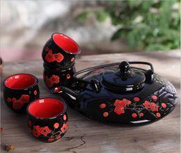 Acheter en ligne Mariage met en vente-Vente chaude de style japonais kung fu thé set rouge cadeau de mariage théière théière nouveau cadeau de maison, jeux de théière à usage unique