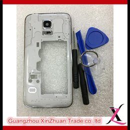 Wholesale Panel Frame Middle Bezel Housing For Samsung Galaxy S5 mini G800 Camera Lens Glass Free Tools