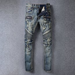 Wholesale 2016 vintage men s males punk ds dj night club balmain hole folding knee biker motorcycle pants denim jeans beggar pants