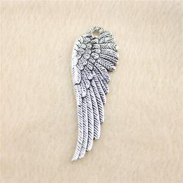15Pcs 50*17mm antique Silver Tonewing Charms Zinc Alloy DIY Handmade Jewelry Pendants Wholesale B11486