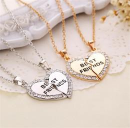 2016 Wholesale Hot Sale Best Friend Sweet Split Heart Friendship Pendants Necklace Gift Jewelry Fashion Accessory