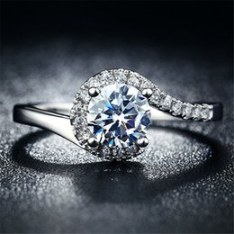 Fashion White Gold Plated Rings For Women 925 Wedding Jewelry CZ Diamond Engagement female ring Accessories L150