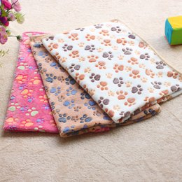 Wholesale Absorbent Dog Cat Pet Necessary Cleaning Drying Bath Towel cm Soft Warm Paw Print Small Pet Blanket Bed Mat