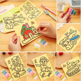 Wholesale Hot sell baby sand painting paper stickers gift baby boy amp girl colored sand DIY educational intelligence toys