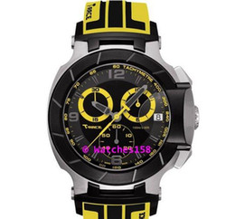 Free Shipping Men's T048 Quartz Watch T048.417.27.057.11 T-Sport T-Race MotoGP Black Dial Yellow CHRONOGRAPH T0484172705711