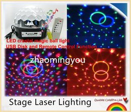 YON LED RGB Crystal Magic Ball Effect Light,MP3 Music Stage Laser Lighting Lamp with USB Disk and Remote Control Function