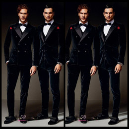 Burgundy Velvet Formal Men Suits Groom Groomsmen Tuxedos Peak Lapel Wedding Morning Suits (Jacket+Pants+Vest+Bow Tie)