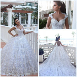 Dreaming 2019 Lace Ball Gown Wedding Dresses Backless 3D Flora Appliues with Cap Sleeves Sweetheart Beaded Bodice Cathedral Wedding Gowns