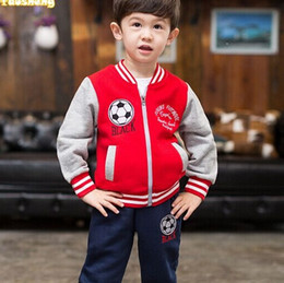 Wholesale fashion China brand kids casual sports wear Jacket pants boy set football baseball clothes pre school Mandarin collar coat years