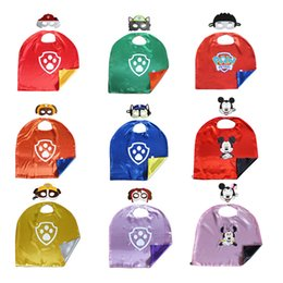 Wholesale 98 styles Double side kids Superhero Capes and masks Batman Spiderman Ninja Turtles Flash Supergirl Batgirl Robin for kids capes with mask